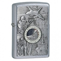 Zippo Joined Forces Emblem Design Lighter - Street Chrome Finish