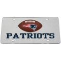 New England Patriots Football Silver Laser Cut License Plate