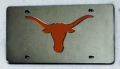 Texas Longhorns Silver Laser Cut/Mirrored License Plate