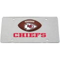 Kansas City Chiefs Football Silver Laser Cut License Plate
