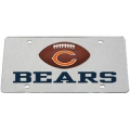Chicago Bears Football Silver Laser Cut License Plate