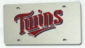 Minnesota Twins Laser Cut/Mirrored Silver License Plate