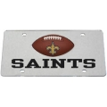New Orleans Saints Football Silver Laser Cut Mirrored License Plate