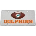 Miami Dolphins Football Silver Laser Cut License Plate