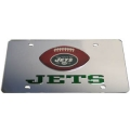 New York Jets Football Silver Laser Cut/Mirrored License Plate