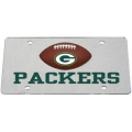 Green Bay Packers Football Silver Laser Cut License Plate