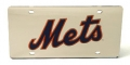 New York Mets Laser Cut/Mirrored Silver License Plate