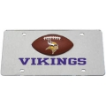 Minnesota Vikings Football Silver Laser Cut License Plate