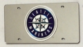 Seattle Mariners Laser Cut/Mirrored Silver License Plate
