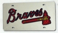 Atlanta Braves Laser Cut/Mirrored Silver License Plate