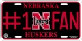 Nebraska Cornhuskers #1 Fan Aluminum License Plate