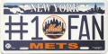 New York Mets #1 Fan Aluminum License Plate