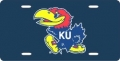 Kansas Jayhawks Navy Laser Cut License Plate