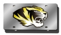 Missouri Tigers Silver Laser Cut/Mirrored License Plate
