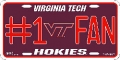 Virginia Tech Hokies #1 Fan Aluminum License Plate