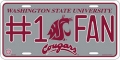 Washington State Cougars #1 Fan Aluminum License Plate