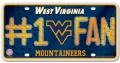 West Virginia Mountaineers #1 Fan Aluminum License Plate
