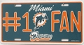 Miami Dolphins #1 Fan Aluminum License Plate