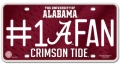 Alabama Crimson Tide #1 Fan Aluminum License Plate