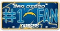San Diego Chargers #1 Fan Aluminum License Plate