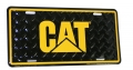 Caterpillar CAT Black & Yellow Diamond Aluminum License Plate