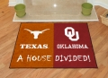 Texas Longhorns vs Oklahoma Sooners House Divided Floor Runner Mat/Rug