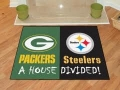 Pittsburgh Steelers vs Green Bay Packers House Divided Floor Rug