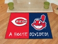 Cleveland Indians vs Cincinnati Reds House Divided Floor Rug