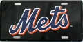 New York Mets Aluminum Black License Plate