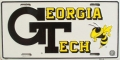 "Georgia Tech Yellow Jackets ""GT"" Aluminum License Plate"