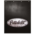 "Peterbilt Motors 24"" x 30"" Black & Silver Poly Semi Truck Mud Flaps-Pair"