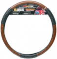 "RoadPro 18"" Comfort Grip Black Woodgrain Massage Semi Truck Steering Wheel Cover"