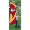 "Kansas City Chiefs NFL Applique & Embroidered 102"" x 30"" Tall Team Flag"