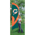 "Miami Dolphins NFL Applique & Embroidered 102"" x 30"" Tall Team Flag"